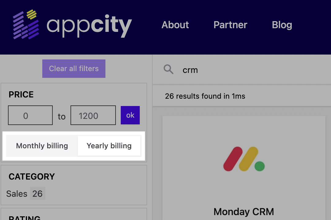 Monthly/yearly billing switch in search on AppCity